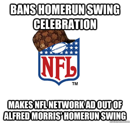bans homerun swing celebration makes NFL Network ad out of Alfred morris' Homerun swing