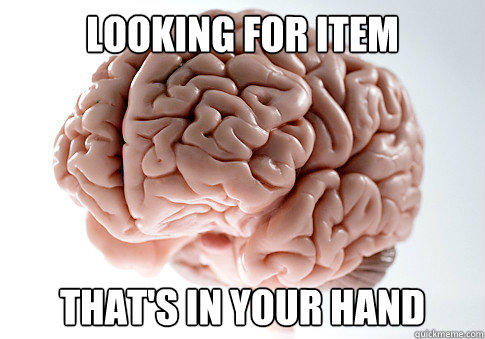 looking for item that's in your hand