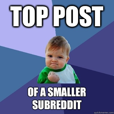 Top post Of a smaller subreddit - Top post Of a smaller subreddit  Success Kid