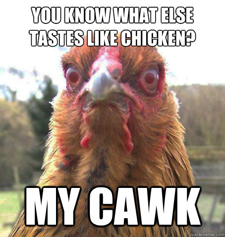 you know what else tastes like chicken? MY CAWK  RageChicken