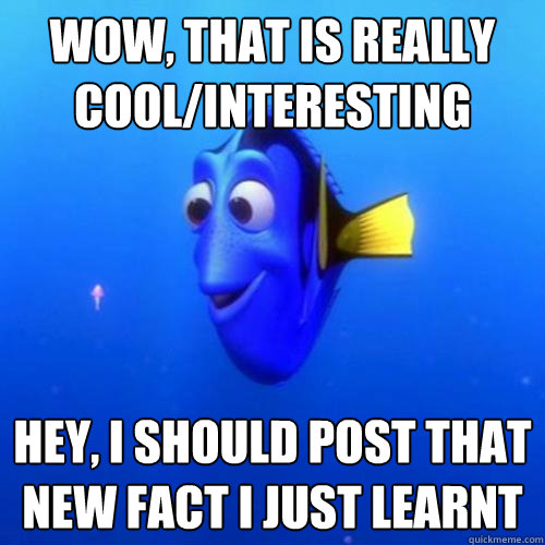 Wow, that is really cool/interesting hey, i should post that new fact i just learnt  - Wow, that is really cool/interesting hey, i should post that new fact i just learnt   dory
