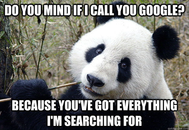 do you mind if i call you google? because you've got everything i'm searching for - do you mind if i call you google? because you've got everything i'm searching for  Pick-up line Panda