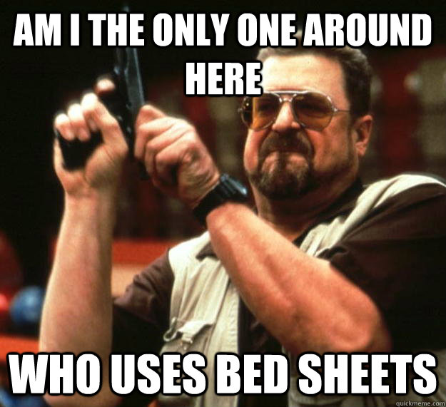 am I the only one around here who uses bed sheets - am I the only one around here who uses bed sheets  Angry Walter