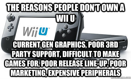 The reasons people don't own a Wii U Current gen graphics, poor 3rd party support, difficult to make games for, poor release line-up, poor marketing, expensive peripherals