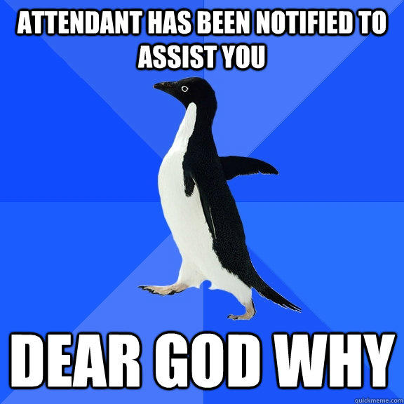 Attendant Has Been notified to assist you Dear God Why - Attendant Has Been notified to assist you Dear God Why  Socially Awkward Penguin