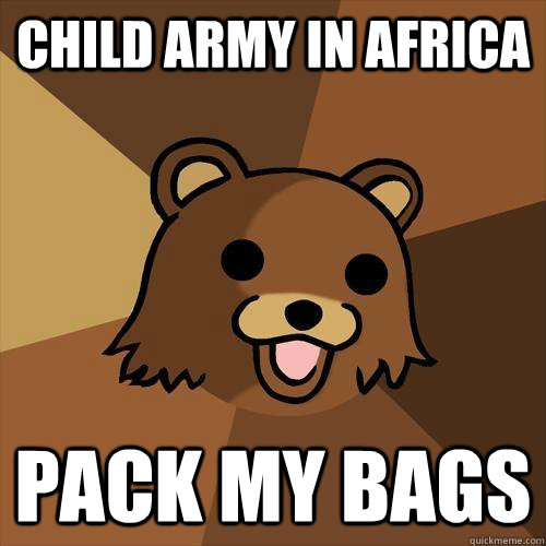 Child army in africa Pack my bags