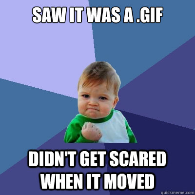 saw it was a .gif didn't get scared when it moved - saw it was a .gif didn't get scared when it moved  Success Kid