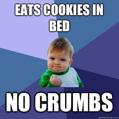 Eats cookies in bed no crumbs - Eats cookies in bed no crumbs  Success Kid