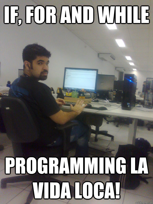IF, FOR AND WHILE PROGRAMMING LA VIDA LOCA! - IF, FOR AND WHILE PROGRAMMING LA VIDA LOCA!  Programmer Ricky Martin