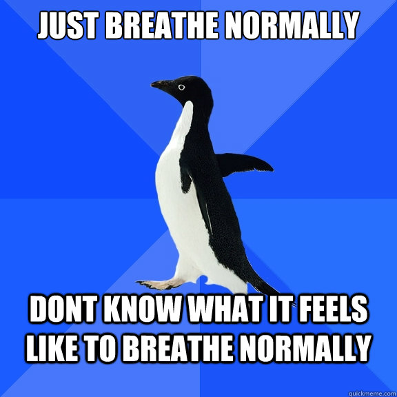 just breathe normally dont know what it feels like to breathe normally - just breathe normally dont know what it feels like to breathe normally  Socially Awkward Penguin