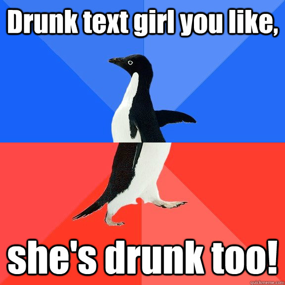 Drunk text girl you like, she's drunk too! - Drunk text girl you like, she's drunk too!  Socially Awkward Awesome Penguin