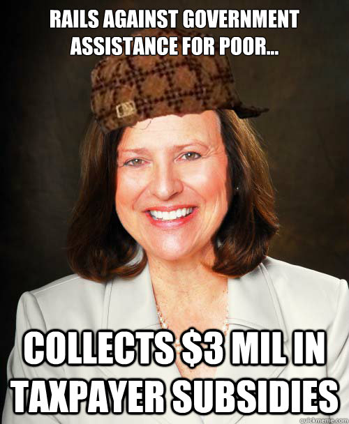 Rails against government assistance for poor... Collects $3 mil in taxpayer subsidies