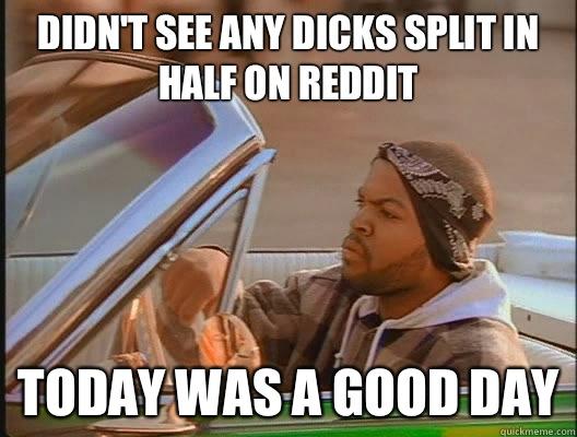 Didn't see any dicks split in half on reddit Today was a good day - Didn't see any dicks split in half on reddit Today was a good day  today was a good day