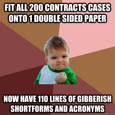 Fit all 200 Contracts cases onto 1 double sided paper now have 110 lines of gibberish shortforms and acronyms
