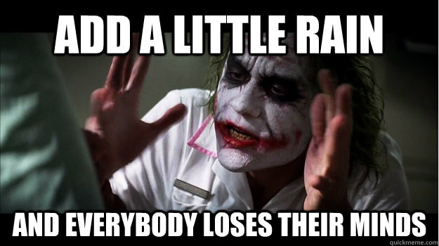 Add a little rain AND EVERYBODY LOSES THEIR MINDS - Add a little rain AND EVERYBODY LOSES THEIR MINDS  Joker Mind Loss