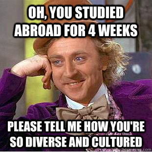 Oh, you studied abroad for 4 weeks Please tell me how you're so diverse and cultured - Oh, you studied abroad for 4 weeks Please tell me how you're so diverse and cultured  Condescending Wonka