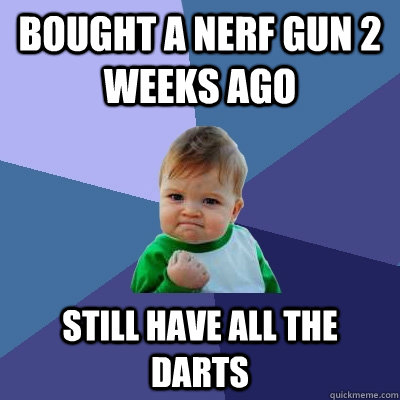 Bought a nerf gun 2 weeks ago still have all the darts - Bought a nerf gun 2 weeks ago still have all the darts  Success Kid