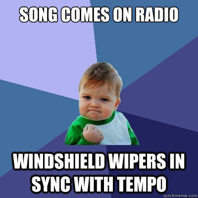 Song comes on radio windshield wipers in sync with tempo - Song comes on radio windshield wipers in sync with tempo  Success Kid