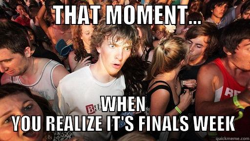 THAT MOMENT...            WHEN YOU REALIZE IT'S FINALS WEEK Sudden Clarity Clarence