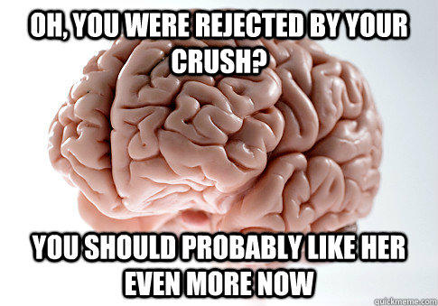 Oh, you were rejected by your crush? you should probably like her even more now - Oh, you were rejected by your crush? you should probably like her even more now  Scumbag Brain
