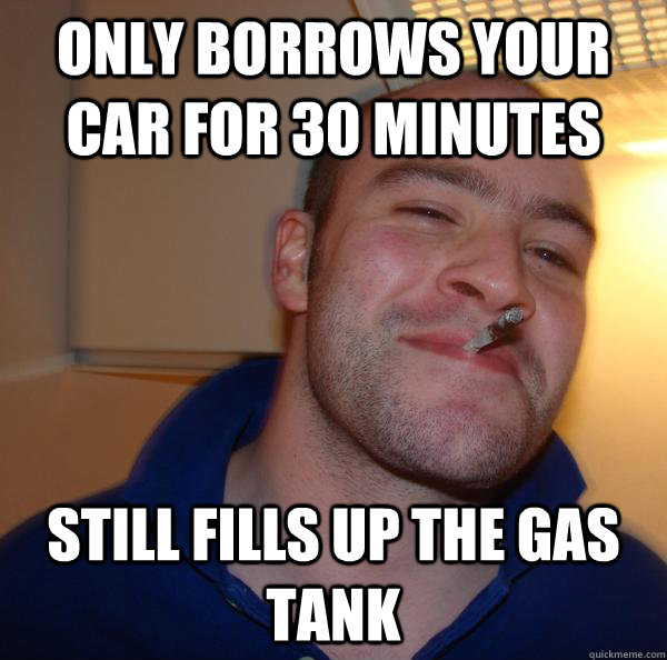 Only borrows your car for 30 minutes still fills up the gas tank - Only borrows your car for 30 minutes still fills up the gas tank  Misc