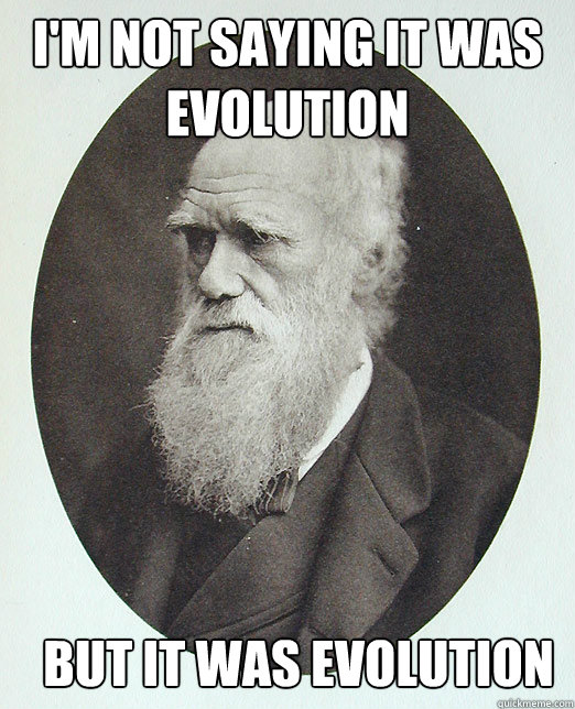I'm not saying it was evolution but it was evolution