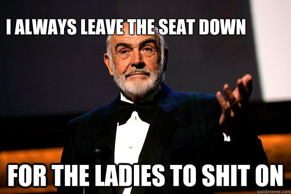 I always leave the seat down For the ladies to shit on - I always leave the seat down For the ladies to shit on  sean connery