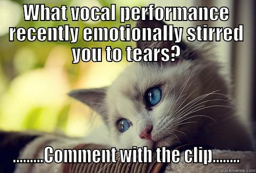 WHAT VOCAL PERFORMANCE RECENTLY EMOTIONALLY STIRRED YOU TO TEARS? .........COMMENT WITH THE CLIP........ First World Problems Cat