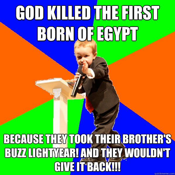 god killed the first born of egypt because they took their brother's buzz lightyear! and they wouldn't give it back!!!