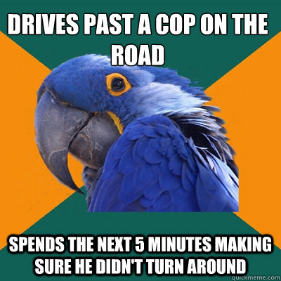 Drives past a cop on the road  Spends the next 5 minutes making sure he didn't turn around - Drives past a cop on the road  Spends the next 5 minutes making sure he didn't turn around  Paranoid Parrot