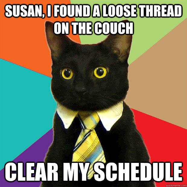Susan, i found a loose thread on the couch Clear my schedule
