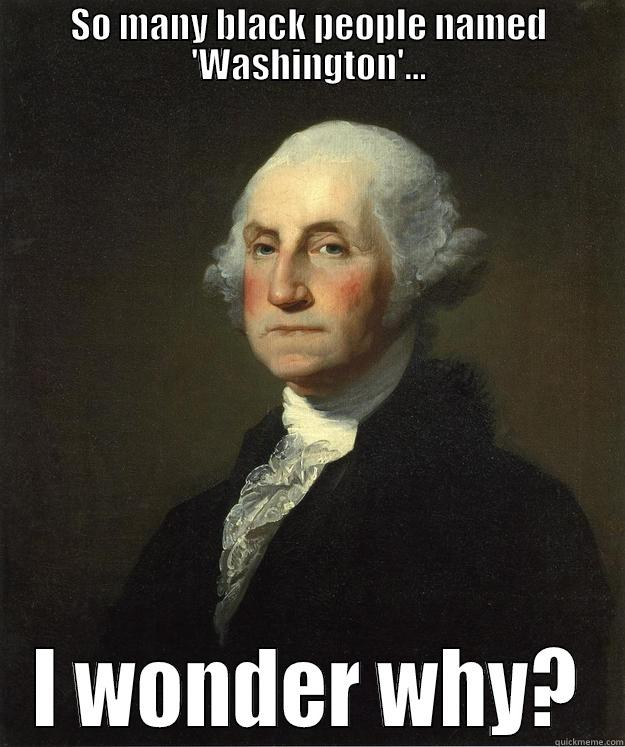 SO MANY BLACK PEOPLE NAMED 'WASHINGTON'... I WONDER WHY? George Washington