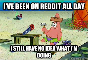 I've been on reddit all day I still have no idea what i'm doing  I have no idea what Im doing - Patrick Star