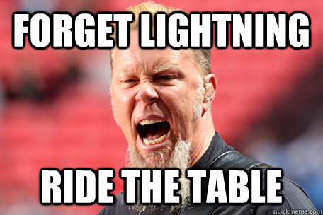 FORGET LIGHTNING RIDE THE TABLE