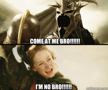 Come at me Bro!!!!!! I'm no Bro!!!!!! - Come at me Bro!!!!!! I'm no Bro!!!!!!  My favorite lord of the rings moment