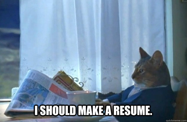 I should make a resume. - I should make a resume.  Sophisticated Cat