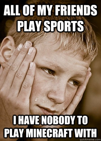 all of my friends play sports i have nobody to play minecraft with  First World Kid Problems