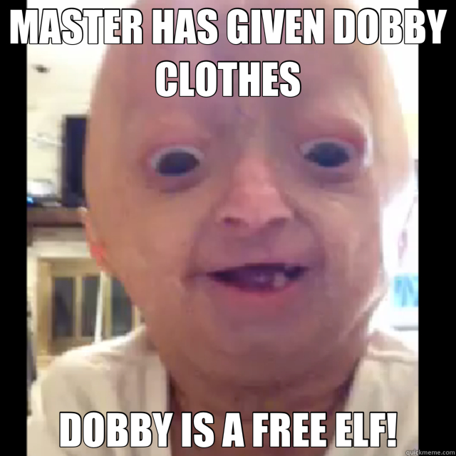 MASTER HAS GIVEN DOBBY CLOTHES DOBBY IS A FREE ELF! - MASTER HAS GIVEN DOBBY CLOTHES DOBBY IS A FREE ELF!  Dobby