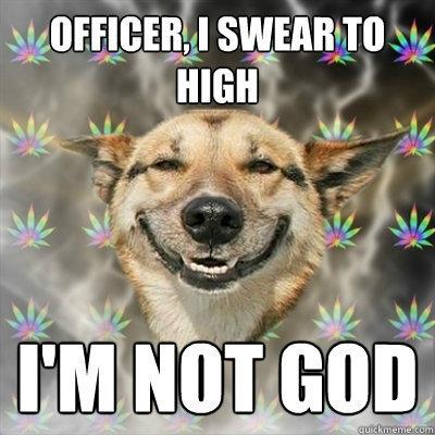 Officer, I swear to high i'm not god  Stoner Dog