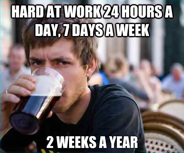 Hard at work 24 hours a day, 7 days a week 2 weeks a year - Hard at work 24 hours a day, 7 days a week 2 weeks a year  Lazy College Senior