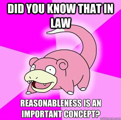 Did you know that in law Reasonableness is an important concept? - Did you know that in law Reasonableness is an important concept?  Slowpoke