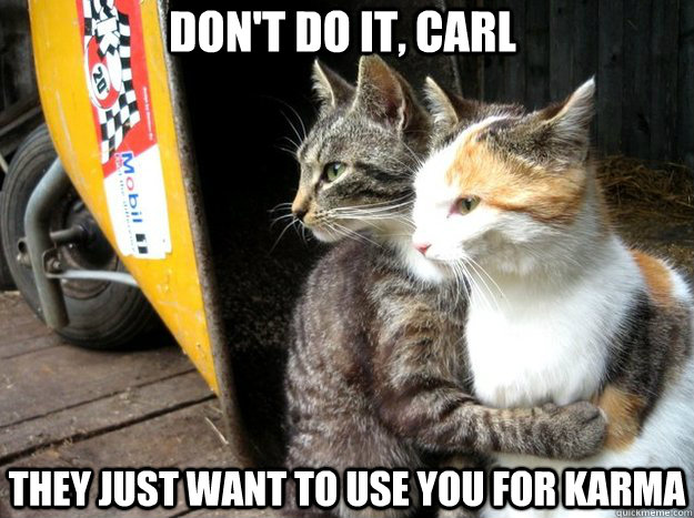 Don't do it, carl They just want to use you for karma