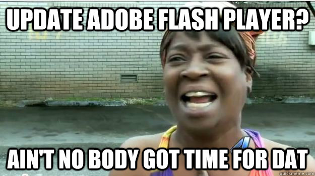 update adobe flash player? AIN'T NO BODY GOT TIME FOR DAT - update adobe flash player? AIN'T NO BODY GOT TIME FOR DAT  AINT NO BODY GOT TIME FOR DAT