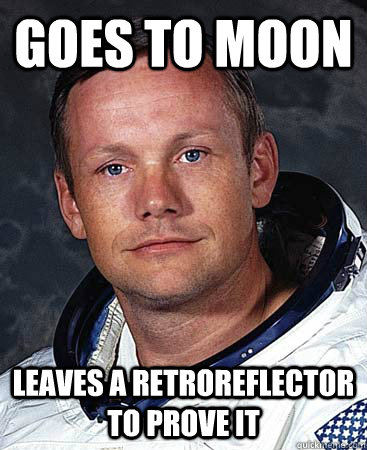 Goes to Moon Leaves a retroreflector to prove it