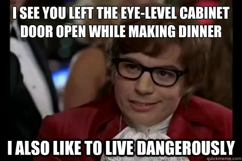 I see you left the eye-level cabinet door open while making dinner i also like to live dangerously  Dangerously - Austin Powers