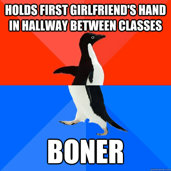 Holds first girlfriend's hand in hallway between classes Boner - Holds first girlfriend's hand in hallway between classes Boner  Socially Awesome Awkward Penguin