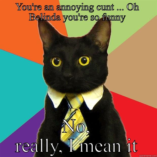 You're an annoying cunt - YOU'RE AN ANNOYING CUNT ... OH BELINDA YOU'RE SO FUNNY NO, REALLY, I MEAN IT Business Cat