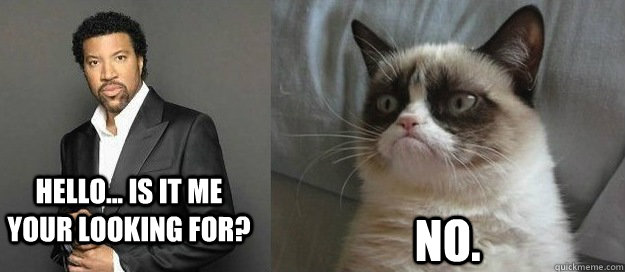 Hello Is It Me Your Looking For No Grumpy Cats View On Lionel