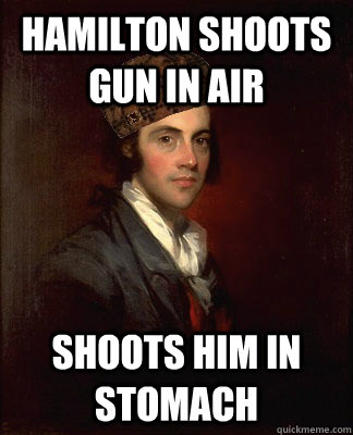 Hamilton shoots gun in air Shoots him in stomach