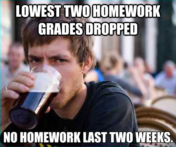 Lowest two homework grades dropped No homework last two weeks. - Lowest two homework grades dropped No homework last two weeks.  Lazy College Senior